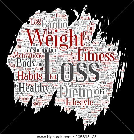 Conceptual weight loss healthy diet transformation paint brush paper word cloud isolated background. Collage of fitness motivation lifestyle, before and after workout slim body beauty concept