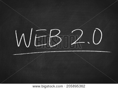 web 2.0 concept word on a blackboard background