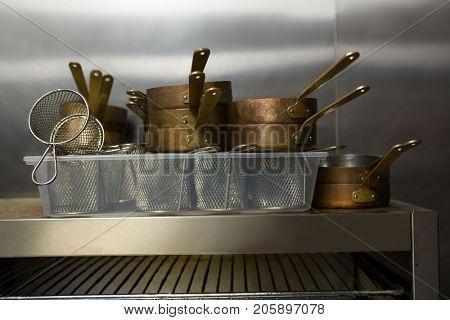 Close-up of kitchen utensils at restaurant
