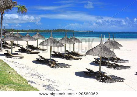 Resort Beach In Mauritius Island