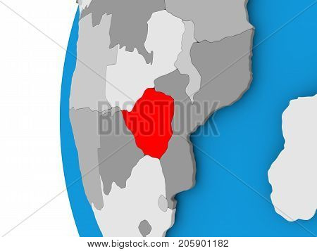 Map Of Zimbabwe On Political Globe