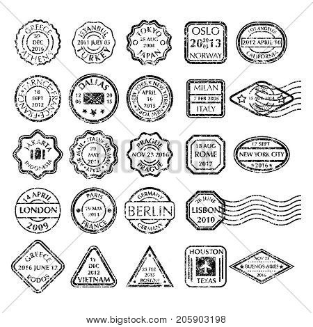 Monochrome grungy Postal Stamps set in different shapes from 24 city in the world. Collection of Black Postal Stamps. Isolated vector illustration.