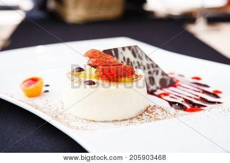 Panna cotta with white chocolate dessert