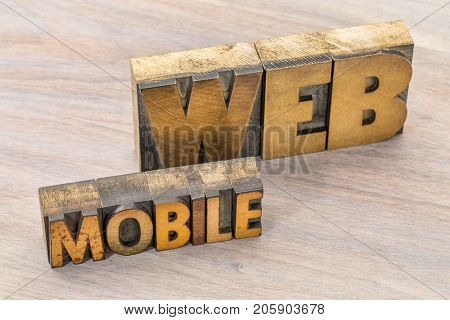 mobile web word abstract in vintage letterpress wood type printing blocks against grained wood