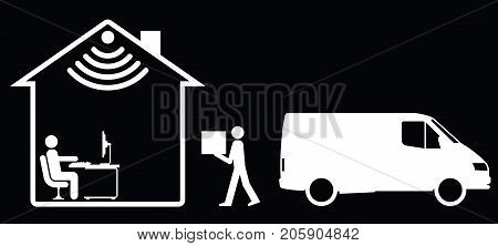Representation of online shopping and home delivery isolated on black background