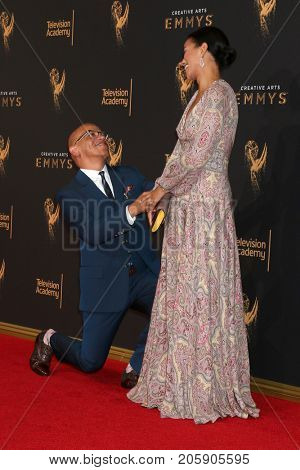 LOS ANGELES - SEP 10:  Ricky Joiner, wife at the 2017 Creative Arts Emmy Awards - Arrivals at the Microsoft Theater on September 10, 2017 in Los Angeles, CA