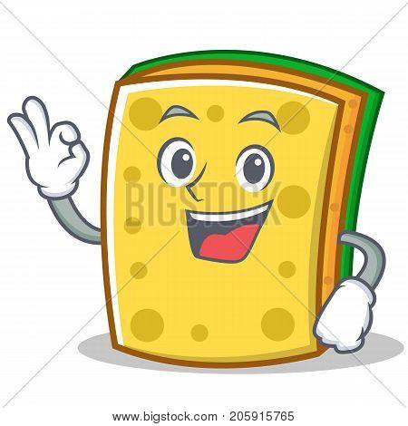 Okay sponge cartoon character funny vector illustration