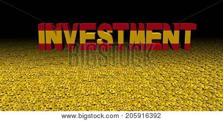 Investment text with Spanish flag on coins 3d illustration