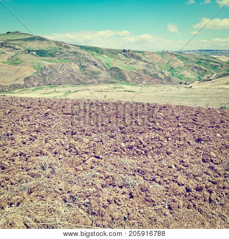 Plowed Sloping Hills of Sicily in the Spring Instagram Effect