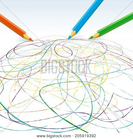 Vector colored pencils drawing lines