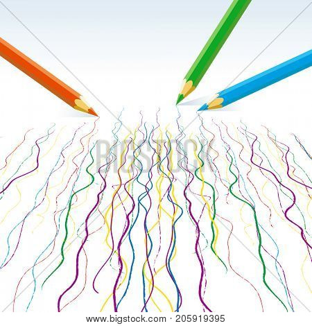 Colour pencils drawing  wavy lines