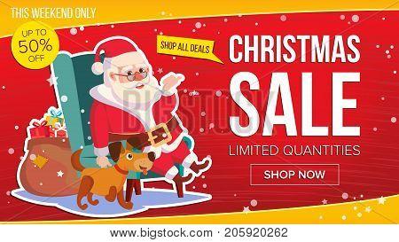 Christmas Sale Banner Vector. Cute Santa Claus. Cartoon Business Brochure Illustration. Template Design For Xmas Banner, Brochure, Poster, Discount Offer Advertising.