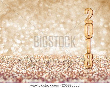 Happy New Year 2018 Year Number ( 3D Rendering ) At Sparkling Golden Glitter Studio Background ,holi
