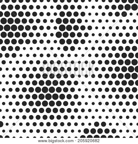 Abstract dotted halftone background. Decorative template for cover, poster or banner. Monocrome pattern on white backdrop
