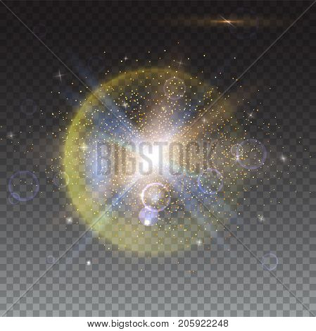 Glow light effect and lens flare backdrop. Star burst with sparkles. Abstract bright motion background. Dynamic digital, technology backdrop. Isolated on trasparent.