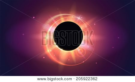 Rays and lens flare light horizontal backdrop. Glow light effect. Solar eclipse, astronomical phenomenon - full sun eclipse. Star burst with sparkles. The planet covering the Sun in eclipse