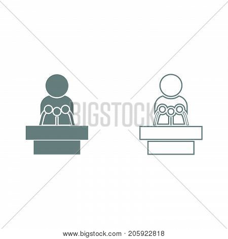 Man Speaking From The Rostrum It Is Black Icon .