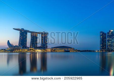SINGAPORE CITY, SINGAPORE - FEBRUARY 10 2017: View Of Marina Bay sands at night, Travel, Singapore on FEBRUARY 10, 2017
