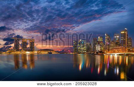 SINGAPORE CITY, SINGAPORE - FEBRUARY 10, 2017: View Of Marina Bay sands at sunrise. Travel, Singapore on FEBRUARY 10, 2017