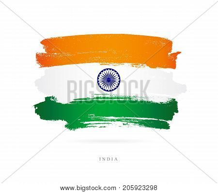 Flag of India. Vector illustration on white background. Beautiful brush strokes. Abstract concept. Elements for design.