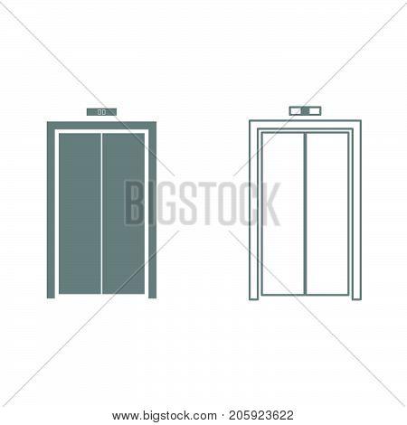 Elevator Doors It Is Black Icon .
