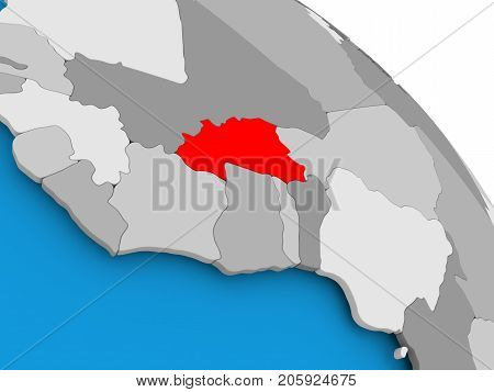 Burkina Faso In Red On Map