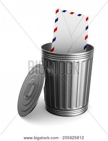 envelope in garbage basket on white background. Isolated 3D illustration