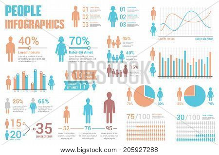 People infographics for reports and presentations - percents, bar and line graphs, pie charts, vector eps10 illustration