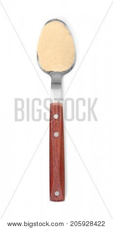 Spoon with maca root powder on white background