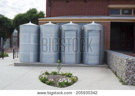 Rainwater Tanks And Storage Sheds, Goodman Building, Adelaide Botanic Garden