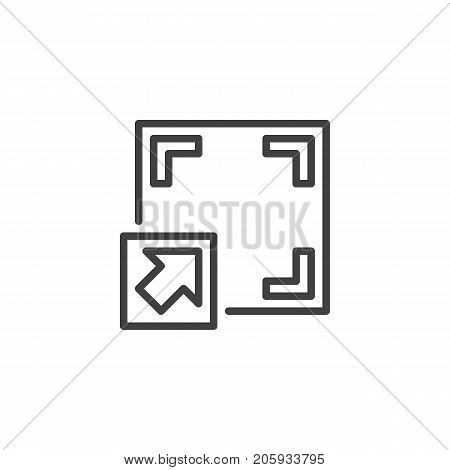 Full screen button line icon, outline vector sign, linear style pictogram isolated on white. Symbol, logo illustration. Editable stroke