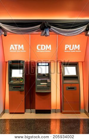 ATM machine. The station automatic machines in orange theme