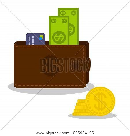 Paper money and bank card in brown purse and gold coins heap. Currency objects isolated on a white background. Flat style vector illustration.