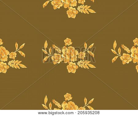 Romantic gold rose bouquet design pattern invitation template. Luxury richest ornament of flowers and leaves painted watercolor.