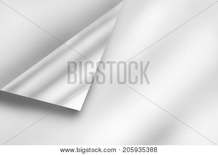 curled corner of white empty paper sheet page with shadow and copy space add text. background illustration