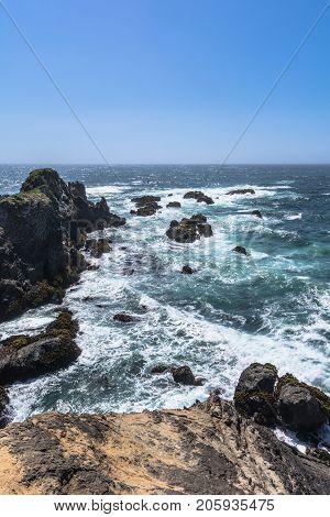 The ocean along the coast of Fort Bragg, California