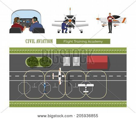 Flight training academy. Repair and maintenance of the aircraft. A plane flying over an airfield. Vector illustration
