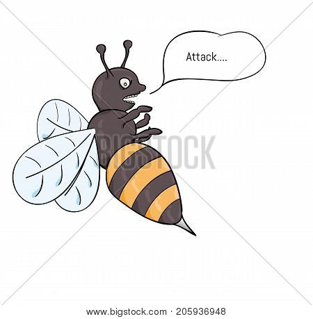 Aggressive wasp attacking with sting full of venom. Cartoon illustration.