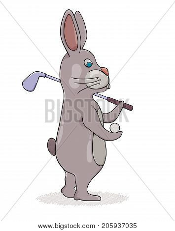 Rabbit With Golf Club And Ball