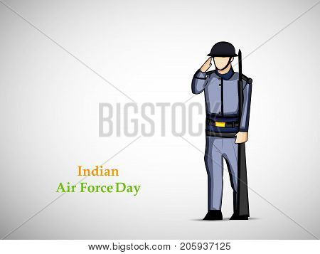 illustration of a soldier saluting with Indian Air Force Day text on the occasion of Indian Air Force Day