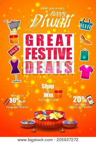 Firecracker on Happy Diwali night celebrating holiday of India  with festive deal background. Vector illustration