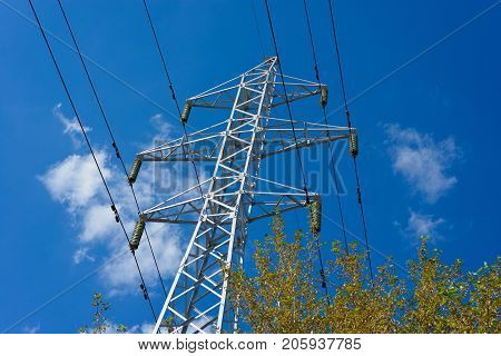 structure for holding wires - ground wire overhead power lines and fiber-optic communication line at a predetermined distance from the ground and from each other.