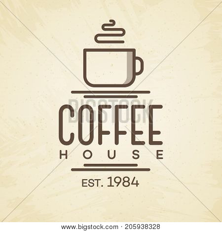 Coffee house logo with cup line style on background for cafe, shop, restaurant. Vector design elements, logos, identity, labels, badges and other branding objects. Vector illustration.