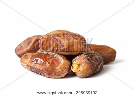 Dried date palm fruit (Deglet Noor) on white background,Ramadan fruit
