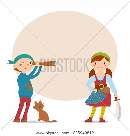 Little boy and girl dressed as pirates with cat, spy glass, sword and round place for text, cartoon vector illustration isolated on white background. Kids, boy and girl, dressed as pirates