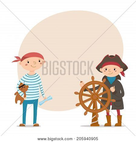 Two little boys dressed as sailors, pirates with steering wheel, teddy bear and place for text, cartoon vector illustration isolated on white background. Kids, boys dressed as pirates, sailors