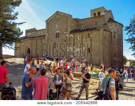 San Leo Italy - June 18 2017: The Cathedral of San Leo Emilia Romagna Italy. Unidentified people on a city holiday.