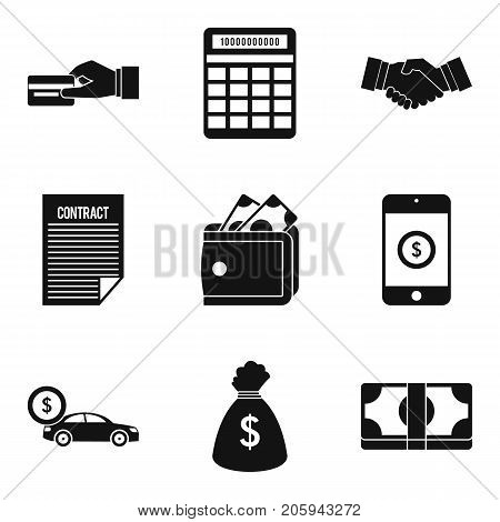 Sign contract icons set. Simple set of 9 sign contract vector icons for web isolated on white background