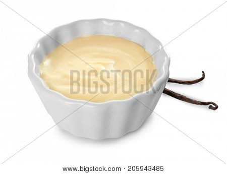 Vanilla pudding in ceramic bowl isolated on white