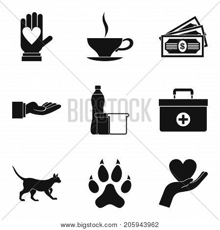 Psychological help icons set. Simple set of 9 psychological help vector icons for web isolated on white background